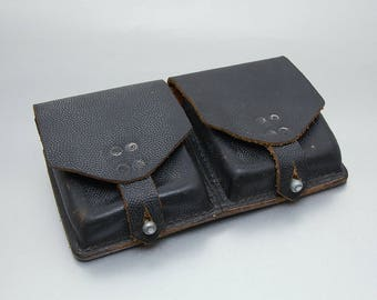Vintage Austrian Army, Leather Ammunition Bag, 1964, genuine black leather, Military Ammo Pouch, Belt Bag, Belt Pouch, Double Pouch
