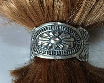 Southwestern Concho Style Cowgirl Ponytail Holder – 1970s Hair Jewelry