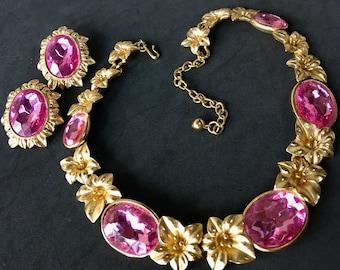 Pink Floral Lily Necklace Earring Demi Parure – Designer Signed Kunio Matsumoto 1980s Trifari