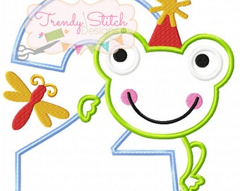 Frog Number 2 Applique Machine Embroidery Design INSTANT DOWNLOAD Birthday