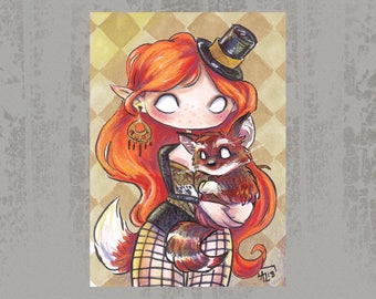 Tindra and Frank - Original ACEO, Copic marker drawing