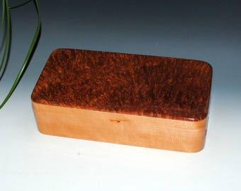 Handmade Wooden Box With a Tray - Redwood Burl on Cherry by BurlWoodBox - Wood Jewelry Box, Wood Stash Box, Handmade Wood Box