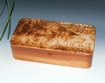Wooden Box With a Tray - Quilted Maple on Mahogany -Handmade by BurlWoodBox -Wood Jewelry, Keepsake or Desk Box - Wooden Stash Box With Tray