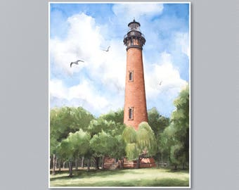 Currituck Island Lighthouse Watercolor Painting- Print from an Original Painting by Laura Poss, Beach, Outer Banks, Three sizes available