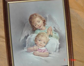 Vintage Framed Guardian Angel and Child - Beautiful