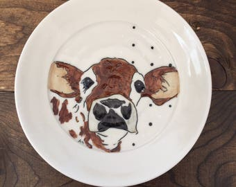 Brown cow plate, small