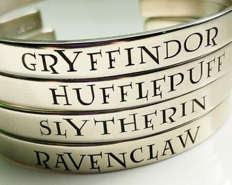 Hogwarts Houses Bracelet . Gryffindor, Hufflepuff, Ravenslaw, Slytherin Cuff Bracelet . Harry Potter Jewelry . Hogwarts Bracelet