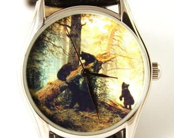 ON SALE 25% OFF Watch Morning in a Pine Forest, Shishkin oil painting picture, ladies watch, men's watch, bears, bear