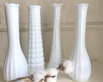 Vintage Milk Glass Vases Mismatched Set of 4 Wedding Decor