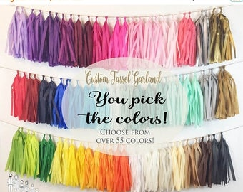 ON SALE ASSEMBLED  Tassel Garland Tissue Paper Tassels Garland Kit Set of 16 to 50 Choose your Colors and quantity