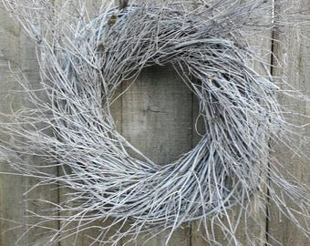 "White twig wreath, 16"""