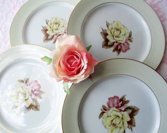 Vintage Salad Plates Narumi China Yellow Rose Occupied Japan Set of Four