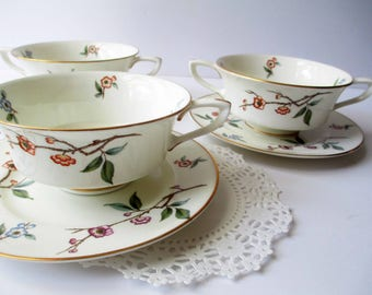 Vintage Royal Worcester Blossom Time Floral Cream Soup Bowls and Saucer Set of Three