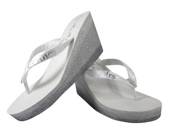 Mrs Wedding Ombre Glitter Flip Flop Wedge Sandals for the Bride, Bridal Flip Flops, Silver Pewter White Ivory, choose colors