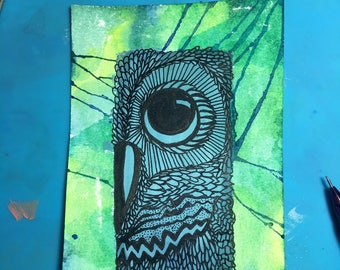 Owl on Green Background