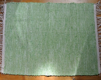 Hand Woven Cotton/Cotton-Poly Rag Rug-Union#36 Loom-Scandinavian-Celery Green