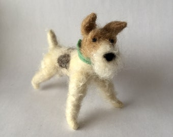 Needle Felted Tan and White Fox Terrier