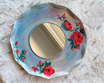 Shabby chic mirror, bohemian decor, round wall mirror, floral bedroom mirror, gypsy mirror, decorative wall mirror, up cycled home decor