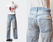 Vintage 80s Levis Jeans Skinny High Waist Jeans / 1980s Mom Jeans RIPPED Blue Levi Denim Pants Hipster Slim Tapered Distressed Small 25 26