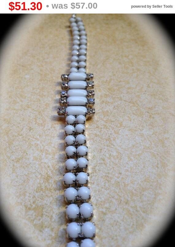 Summer Sale Vintage milk glass/rhinestone bracelet- White Bridal Bracelet- Vintage Jewelry- Bracelet Antique Costume Jewelry- Art Deco Br...
