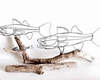 Double Walleye with Bait Fish Wire Sculpture, Fish Wire Art, Fish Minimal Sculpture, Walleye Fish Art, 536158312