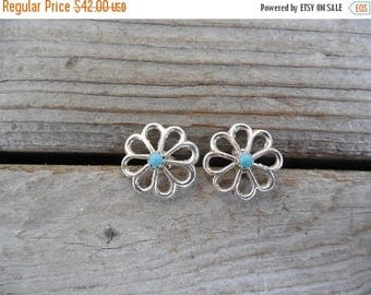 ON SALE Turquoise earrings handmade in sterling silver