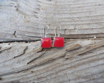 Red coral earrings handmade in sterling silver 925 with red sponge coral