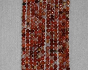 Sardonyx, Red Sardonyx, Red Sardonyx Bead, Faceted Bead, Natural Stone, Semi Precious, Full Strand, 4 mm, AdrianasBeads