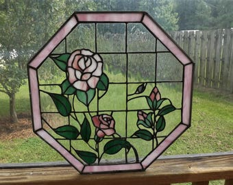 Vintage Stained Glass Window Octagon Slag Pink Roses Floral
