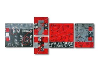 tableau triptyque design rouge noir gris contemporain abstrait. Black Bedroom Furniture Sets. Home Design Ideas