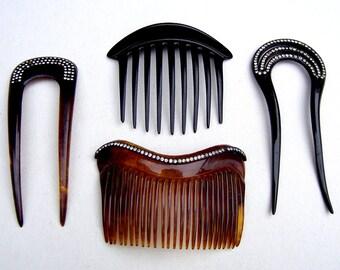 4 Vintage celluloid rhinestone hair combs hair accessory hair pin hair pick hair fork decorative comb hair ornament hair jewelry