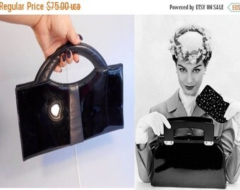 Anniversary Sale 35% Off She's Too Pure To Be Pink - Vintage 1950s Classic Black Vinyl Patent Large Handbag