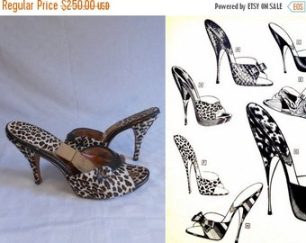 Anniversary Sale 35% Off The Leopard's Roar - Vintage 1950s Leopard Print Horse Hair Spring-o-lators w/Bronzed Leather Trim - 8.5M