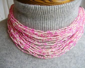 PINK Necklace. CHOKER Necklace. 24 Strand. Necklace. Multistrand Necklace. beaded necklace. w/ pink green extender. vintage. 1940s. 1950s