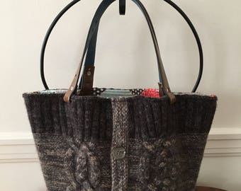 Ombre Cable Felted Wool Tote Bag