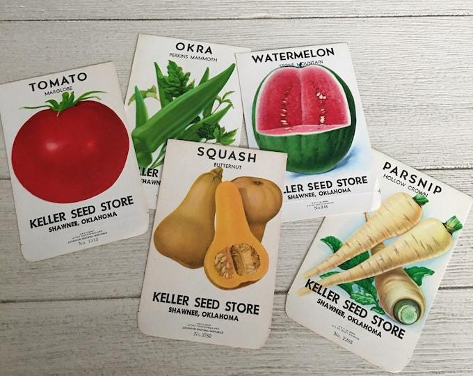 5 Vintage Seed Packet Envelopes Keller Seed Store Shawnee, OK