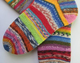 hand knitted womens wool socks, UK 6-8 US 8-10, knitted crazy socks, fun odd socks, muticoloured socks, mismatched socks, unique socks
