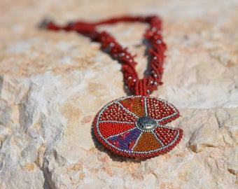 Pendant necklace Bead embroidery Coral red Cabochon abstraction Long Minimalist Asymmetrical necklace