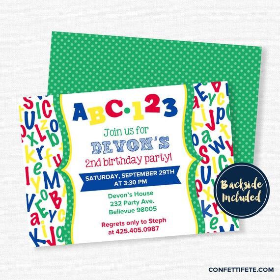 ABC Birthday Invitation Alphabet Birthday Invitation Second