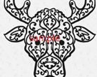 Swirly Moose Head Cross Stitch Chart