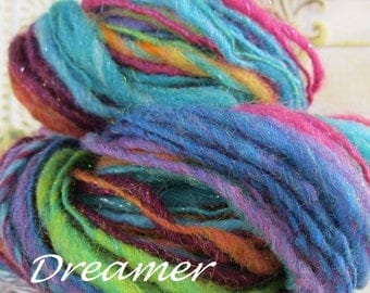 Handspun sparkling wool blend thick and thin singles Dreamer self striping chunky bulky yarn
