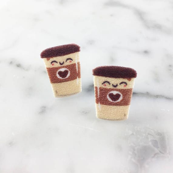 Coffee, latte, coffee boy, stud, earring, plastic print, coffee earring, morning earring, , stainless stud, handmade, les perles rares