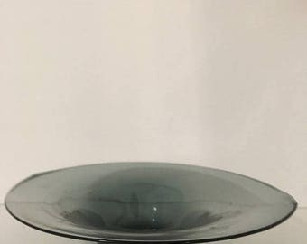 Art Glass Blue Low Centerpiece Bowl