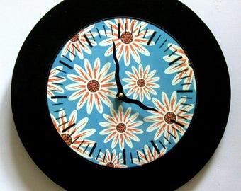 Wall clock. Flower clock. Retro clock. Art Deco clock. Modern clock. Vinyl clock.
