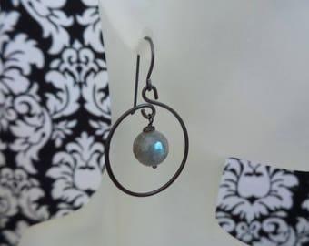 Labradorite Hoop Earrings, Labradorite Earrings, Labradorite Jewelry, Genuine Labradorite Rounds, Boho Earrings, Gifts Under 20, Gift Women