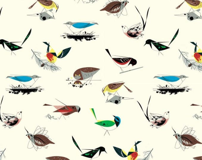 Organic KNIT Fabric - Charley Harper Western Birds - Western Birds Main Knit