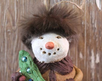 Folk Art RUSSIAN SANTA Snowman, OOAK, handmade from papier mache fur hat, Christmas tree with vintage Christmas bulbs