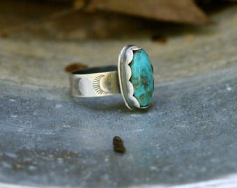 Turquoise Sterling Silver Bohemian Artisan Wide Band Southwestern Blue Gypsy Oxidized Stamped Ring