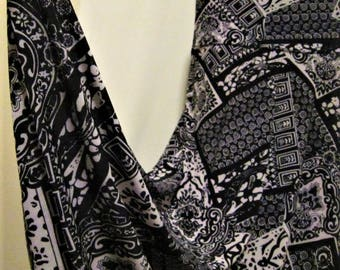 """Ladies' Modest PAISLEY Black & White print Polyester Spandex Stretch Knit Jersey Maxi Skirt for Missionary, Travel or Leisure, M/L, 38""""long"""