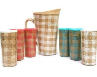 Vintage Pitcher and Glasses  /  Mid-century Raffiaware  /  Raffia Ware  /   Picnic Ware  /  Pink and Turquoise / Retro Barware  /  Food Prop